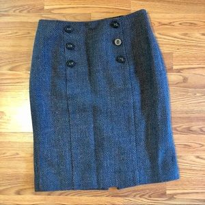 Halogen Tweed Teal And Gray Wool Blend Skirt